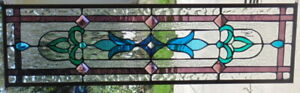 Stained Glass Transom Window Hanging 34 X 10 Brass Frame Edging