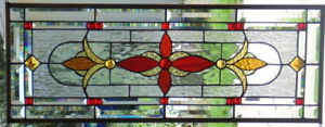 Stained Glass Transom Window Hanging 32 X 12 1 2 Brass Metal Border Edging