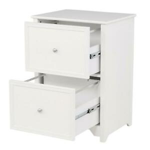 Home Office Drawer File Cabinet End Table Storage Organizer Bedroom Wooden White