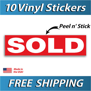 Sold Real Estate Sign Stickers 11 5 X 3 Weatherproof Vinyl Red Pack Of 10