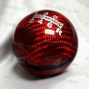 6 Speed Jdm Style Mugen Shift Knob For Honda Rsx Civic Type R S2000 Red Carbon