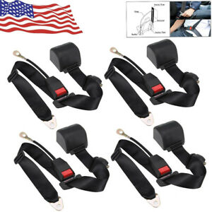4x Car Seat Belt Lap 3point Safety Travel Adjustable Retractable Auto Universal