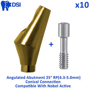 10x Dsi Dental Implant Conical Connection Rp Nobel Active Angulated Abutment 25