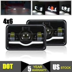 Dot 4x6 Led Headlights Halo Sealed Beam Pair Drl Projector For Ford Mercury Gmc