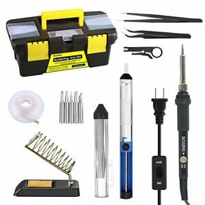 Soldering Iron Kit 60w Adjustable Temperature Solder Kit With On off Switch 5p
