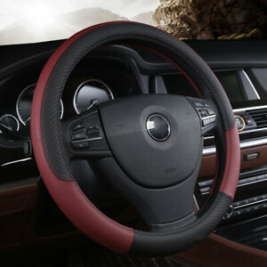 Universal Pu Leather Car Steering Wheel Cover Anti Slip Breathable Wine Red