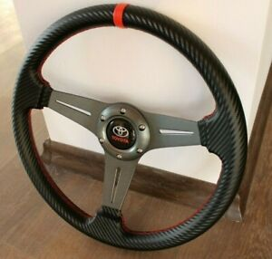 Steering Wheel Toyota Racing Carbon Leather Sport Corolla Supra Mr2 Celica