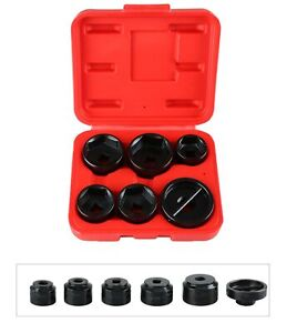 6pc Oil Filter Cap Wrench Metric Socket Garage Tool Kits 24 38mm For Bmw Benz Vw