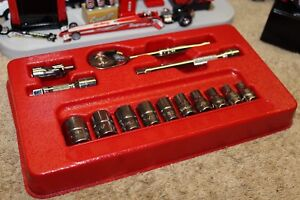 Snap On Tools 14pc 1 4dr Std Sae 6pt Shallow General Service Socket Set 114atmp