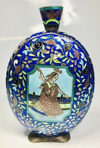 Antique 1950s Indian Silver And Hand Painted Enamel Round Flask 7