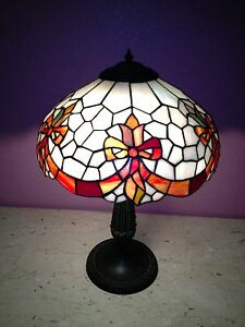 Lamp Stained Leaded Glass Bronze Base