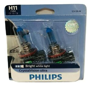 Philips H11 Crystalvision Ultra Upgrade Bright White Headlight Bulb 2 Pack