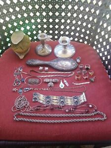 Vintage Sterling Silver And Silvertone Jewelry Lot For Scrap Or Wear 220 Grams