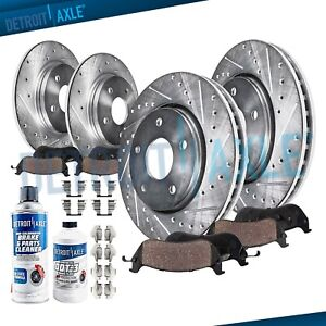 Front And Rear Drilled Rotors Brake Pads For Toyota Sienna Highlander Lexus