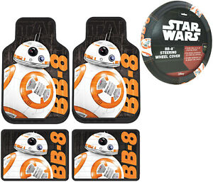 New 5pc Star Wars Bb 8 All Weather Floor Mats Steering Wheel Cover Gift Set