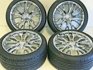 18 19 Z06 Zo6 Style Chrome Wheels Rims Tires Fits 05 13 Chevy Corvette C6 Base