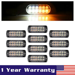 10x White amber Car 12 Led Emergency Strobe Light Bar Marker Flash Warning Lamp