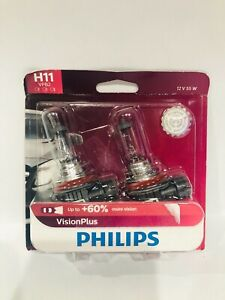 Philips H11 Visionplus Upgrade Headlight Bulb With Up To 60 More Vision 2 Pack