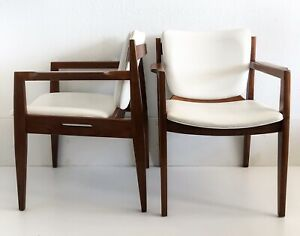 Vtg Mid Century Danish Modern Lounge Arm Chair Teak Wood White Vinyl Thonet