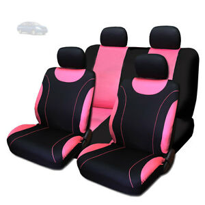 New Sleek Black And Pink Flat Cloth Seat Covers Set For Nissan