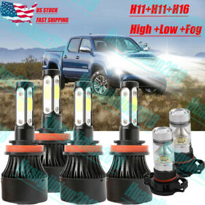 4 side Xenon White Led Headlight Bulbs Hi low fog Lights For 2016 2019 Tacoma