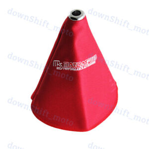 Jdm Mazda Shift Knob Shifter Boot Cover Mt at W Red Racing Fabric Red Stitches