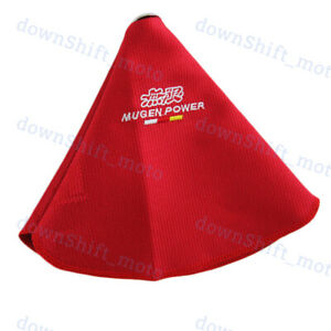 Jdm Mugen Shift Knob Shifter Boot Cover Mt at Red Stitch Racing Fabric For Honda