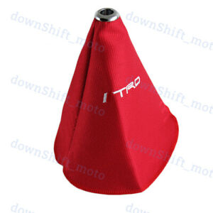 Jdm Trd Sports Shift Knob Boot Cover Mt At Racing Fabric Red Stitch For Toyota