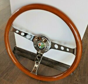 Steering Wheel Alfa Romeo Vintage Wood Chrome Polyshed Classic No Hub Adapter