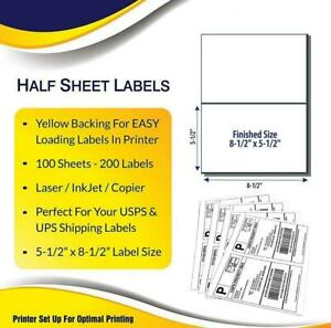 8 5 X 5 5 Self Adhesive Best Quality Shipping Half Sheet Labels Yellow Backiing
