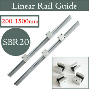 2x Sbr20 Slide Guide Shaft 200 2000mm Linear Rail Rod Sbr20uu Block Cnc
