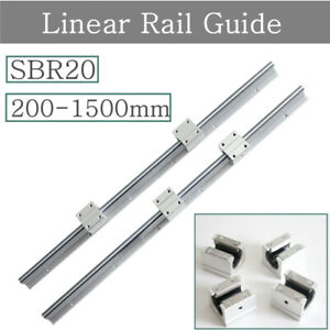 2xsbr20 Linear Rail Guide Fully Supported 200 2000mm 4x Sbr20uu Block Bearing