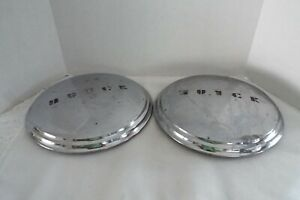 Vintage Lot Of Two 1940 s Buick Chrome Dog Dish Style Hub Caps