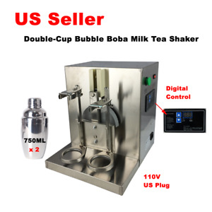 Double cup Bubble Boba Milk Tea Shaker Stainless Steel Auto Shaking Machine