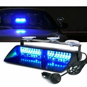Blue 16led Emergency Car Windshield Flash Strobe Warning Lights Light Bar 12v