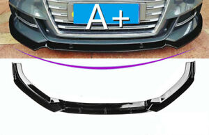 For 2014 2016 Audi A3 Front Bumper Spoiler Chin Lip Pattern Abs Gloss Black