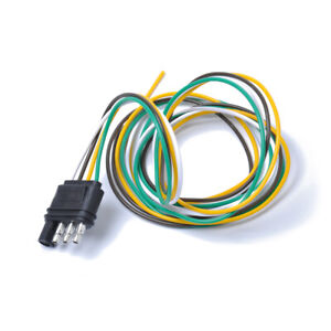 3ft Trailer Light Wiring Harness Extension 4 Pin Plug 18 Awg Flat Wire Connector