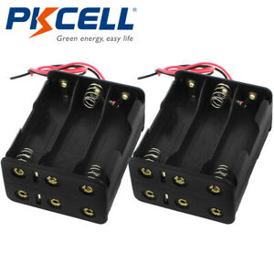 2pcs Dual side Battery Holder 6 aa Cells Case Box With Two Leads For Aa Battery