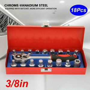 18pcs Chrome Vanadium Steel 3 8in Oil Drain Plug Sump Ratchet Socket Wrench Set