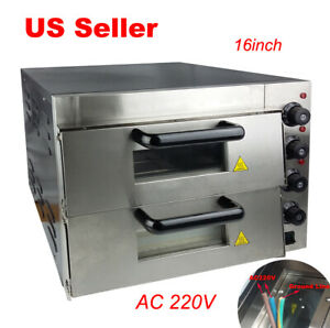 220v Electric 16inch Pizza Oven Double Deck Commercial 2400w With Ceramic Stone