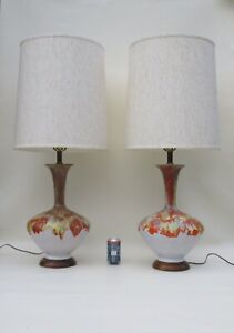 Mid Century Modern Fat Lava Vintage Multi Color Lamp Pair With Shade 42 Tall