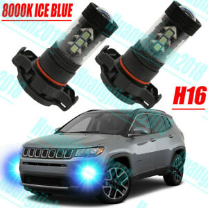 2x Ice Blue Canbus Psx24w 2504 Led Drl Light Bulbs For 2017 2018 19 Jeep Compass