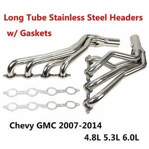 Long Tube Stainless Steel Headers W Gaskets For Chevy Gmc 07 14 4 8l 5 3l 6 0l