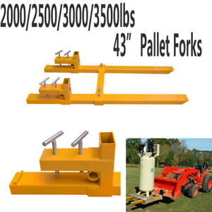 2000lb 3500lb Clamp On Pallet Forks Loader Bucket Skidsteer Tractor Chain New