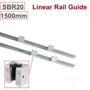 2pc Sbr20 1500mm Linear Guide Rail 20mm Shaft Rod 4pc Sbr20uu Blocks Cnc Set