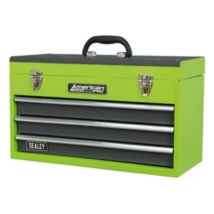Last Few Tool Chest 3 Drawer Green Hi Vis Toolbox Tool Kit Ball Bearing Slides