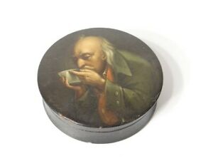 Box Round Russian Lacquered Wood Portrait Man Drinking 19th Century