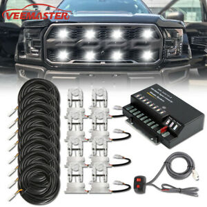 160w 8 Led Hid Bulbs White Hide A Way Emergency Warning Strobe Light System Kit
