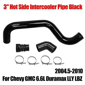 Black 3 Hot Side Intercooler Pipe Boot Kit For 2004 5 10 Gm 6 6l Duramax Lly