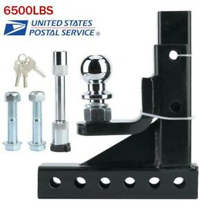 New 6500lbs Adjustable 2in Towbar Ball Mount Hitch Trailer Tongue Tow Bar Set Us